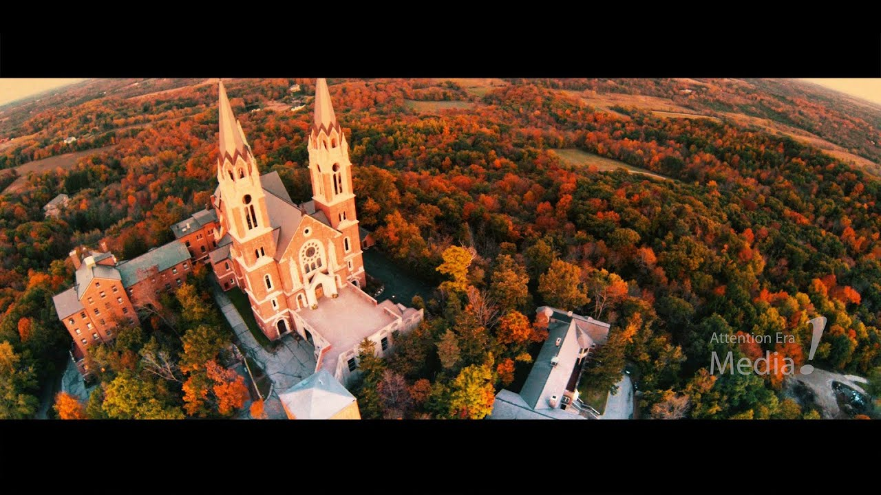 Boston In The Fall Wallpaper Aerial View Of Holy Hill During A Colorful Fall Sunset