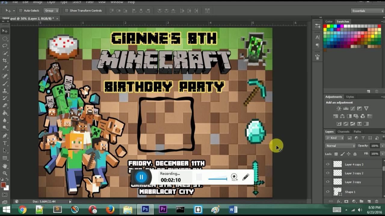 Minecraft Invitation How To Create Minecraft Invitation Photoshop