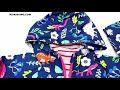 Hooded Zipped Printed Long Sleeve Coat for Toddlers Boys Girls Wholesale