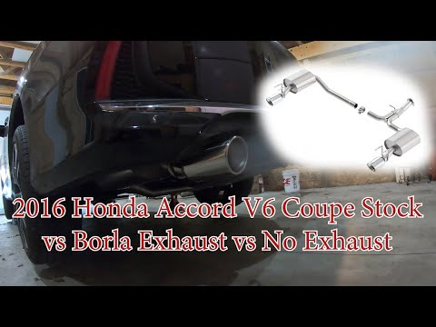 2016 honda accord v6 coupe stock vs borla exhaust vs no exhaust axleback