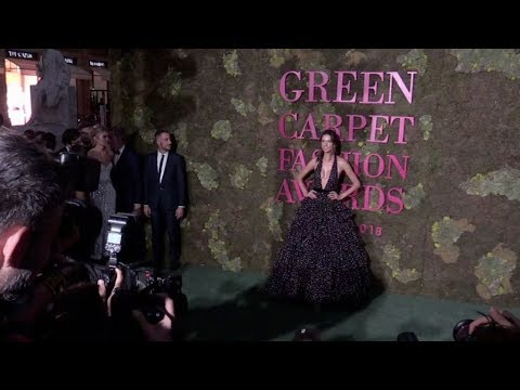 Alessandra Ambrosio and Nicolo Oddi on the red carpet for the Green Carpet Fashion Awards in Milan