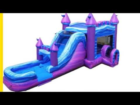Mega Purple Marble Commercial Inflatable Water Slide Bounce House Combo