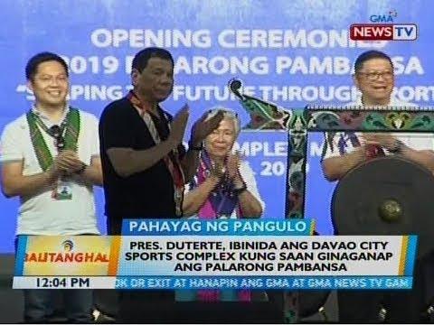 BT: Pres. Duterte, ibinida ang Davao City Sports Complex kung saan ginaganap ang Palarong Pambansa