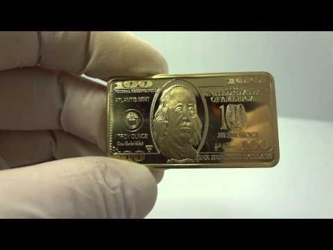 1 oz bronze $100 dollar bill bullion bar