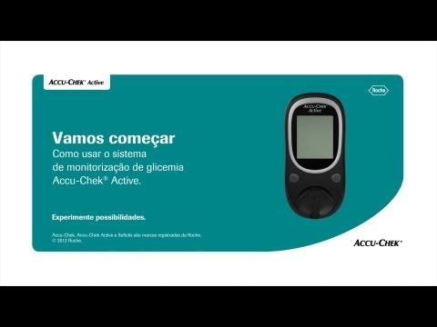 Como fazer o teste de glicemia no seu monitor Accu-Chek Active ®