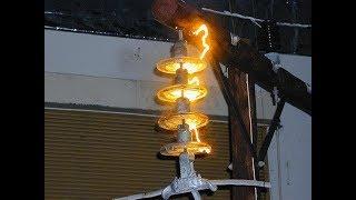 Arc électrique et explosion d'un isolateur porcelaine haute tension sans protecion MIDSUN 570