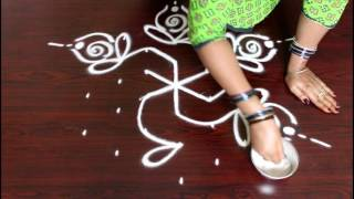 Video chukkala muggulu designs with 7 to 4 interlaced dots- kolam designs with dots-simple rangoli designs download MP3, 3GP, MP4, WEBM, AVI, FLV April 2018