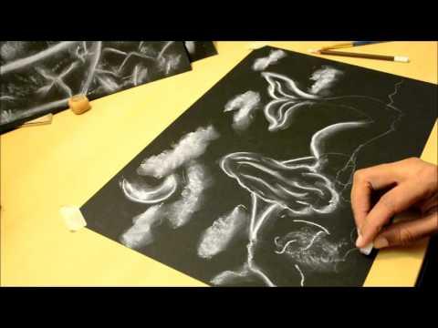 Dibujando con l piz blanco sobre papel negro t cnica luz - Papel para dibujar ...