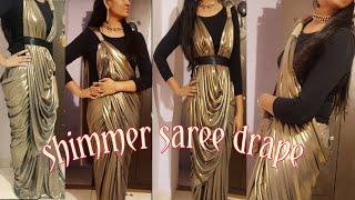 How to wear stylish saree to look slim/bollywood  lycra saree drape in 4 style/Lycra saree drape
