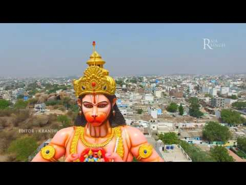 Raja Singh Sri Akashpuri hanuman mandir Murti height 51.Feet Arial  video(Drone)