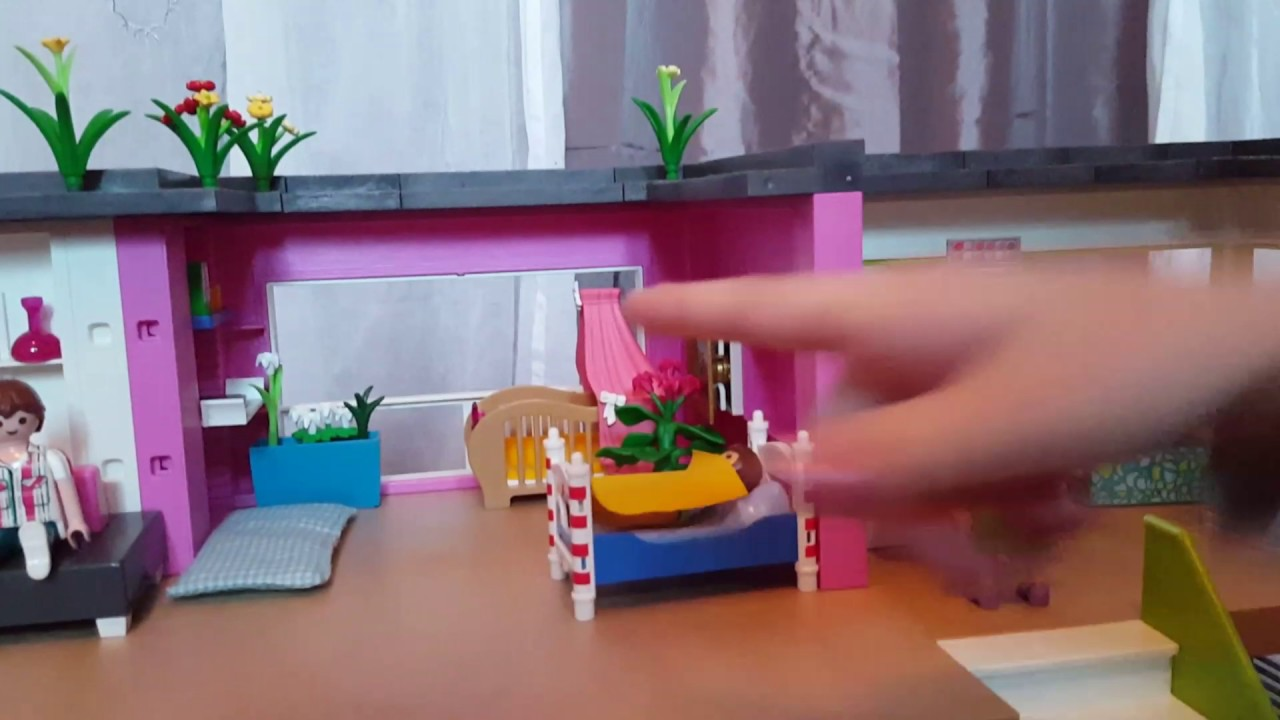 Vid o maison moderne playmobil youtube for Agrandissement maison moderne playmobil
