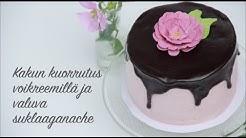 Kakun kuorrutus voikreemillä ja valuva suklaaganache