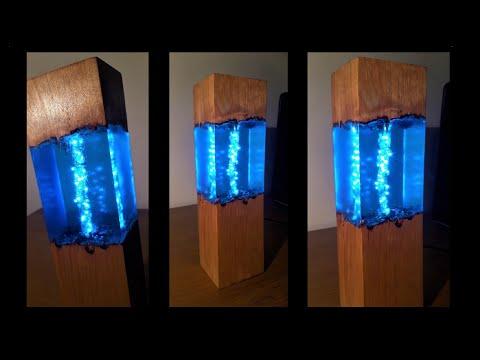 Blue Epoxy Resin Night Lamp - Resin Art