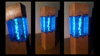 Blue Epoxy Resin Night Lamp - Resin Art