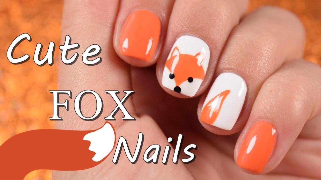 Cute Fox Nail Art - YouTube