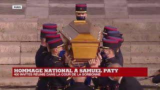 Hommage au professeur assassiné : entrée du cercueil de Samuel Paty dans la cour de la Sorbonne