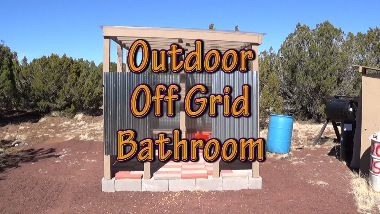 outdoor off grid bathroom walls and roof completed - a little