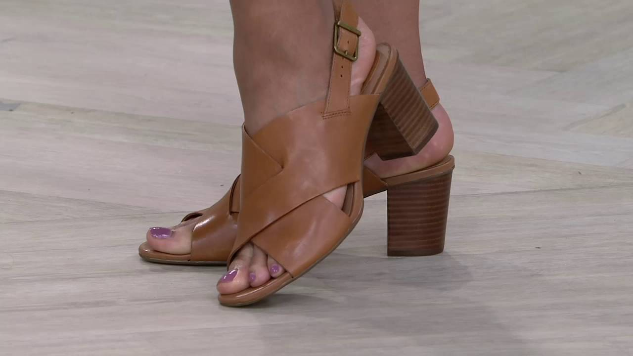 245534f91 Clarks Artisan Leather Cross Band Block Heel Sandals - Ralene Vive on QVC
