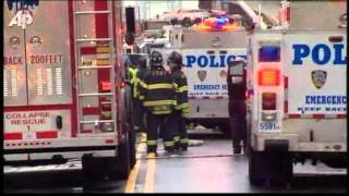Raw Video: Scaffolding Collapses, Hits Bus in NY