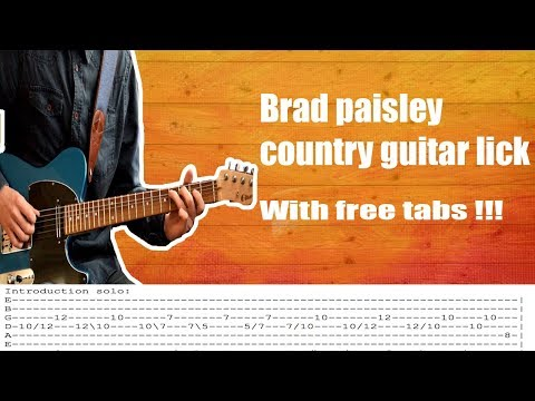 Country guitar lesson in the style of Brad Paisley | with free TABS!!