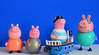 Peppa Pig Full Episode Daddy Pig Mammy Pig George pig Weeble wobble toys