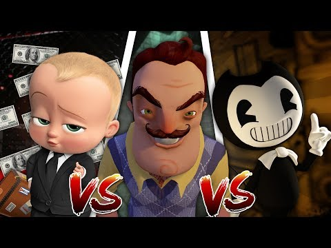 Minecraft BOSS BABY VS HELLO NEIGHBOR VS BENDY AND THE INK MACHINE! WHOS IS THE MOST EVIL CHARACTER?
