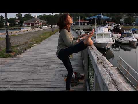 Sexy Yogini Stretching in Pictou, Nova Scotia