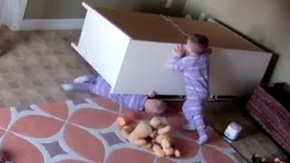 Boy Rescues Twin Brother from Fallen Drawer Video 2017