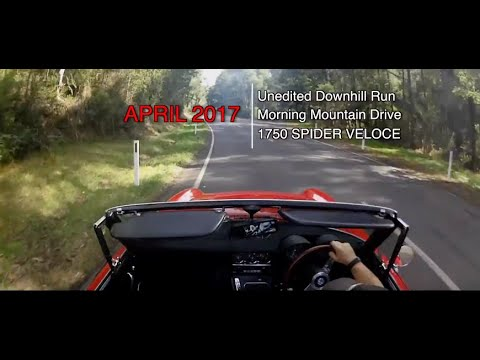 Classic Alfa Romeo Spider 1750. Uncut Downhill Mt Run. Pure Engine Sound