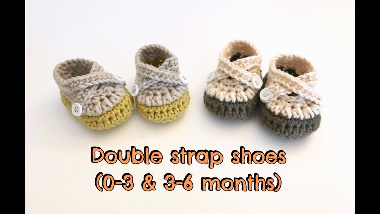 00722894bf14b How to Crochet Double Strap Baby Shoes (0-3 & 3-6 months)