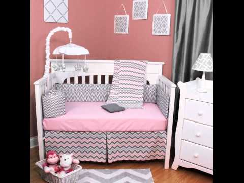 Chevron Zig Zag Pink And Gray 5 Piece Baby Crib Bedding Set with Bumper