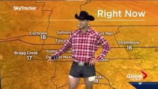 Jordan Witzel wears daisy dukes on Calgary Morning News