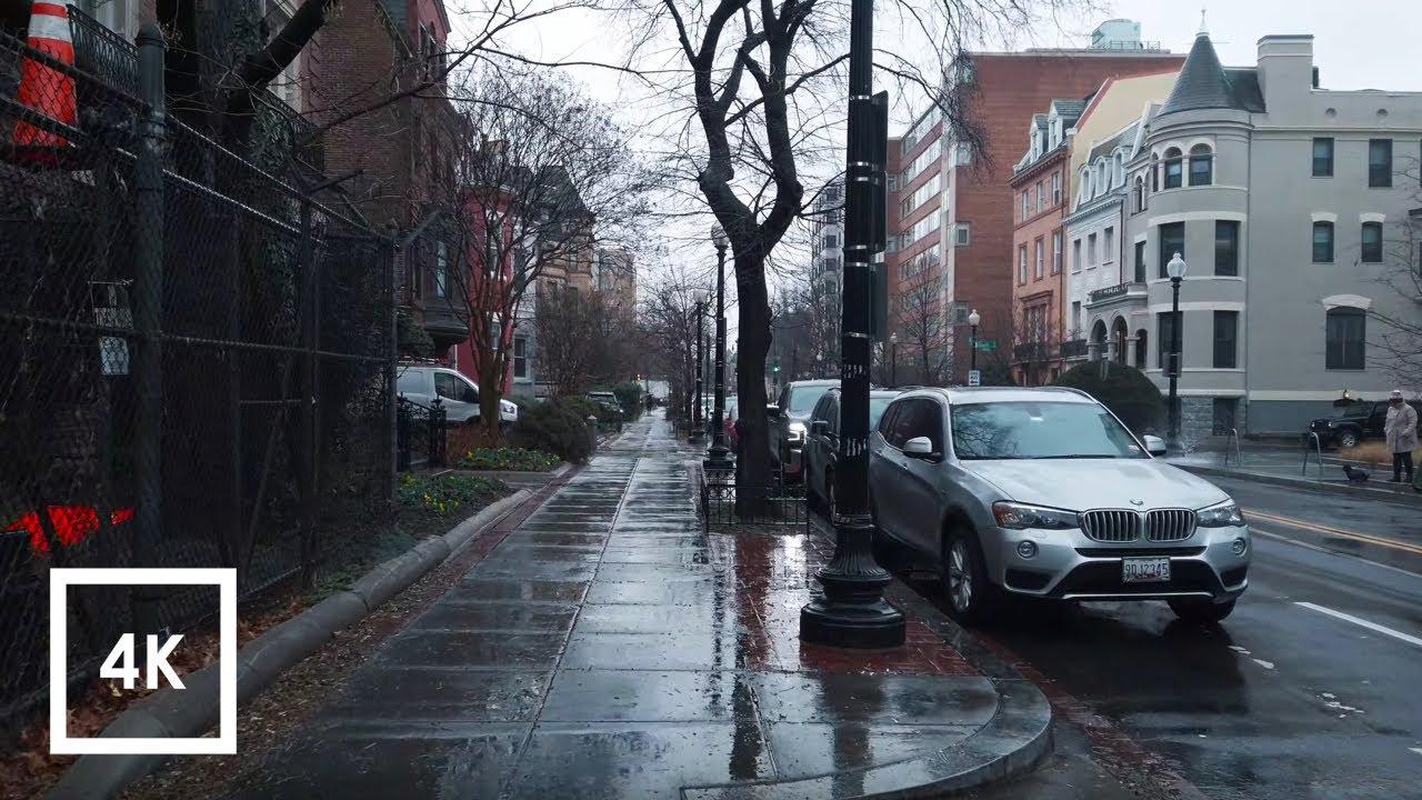 Light Rainfall Walk in Washington DC, Rain and Umbrella Ambience (Farragut West to Adams Morgan)