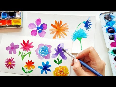 Super Easy Watercolor Flowers Ideas - Loose Floral Painting For Beginners \ ASMR