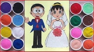 Đồ chơi trẻ em, TÔ MÀU TRANH CÁT Nobita Xuka cô dâu chú rể / Colored sand painting toys (ChimXinh)