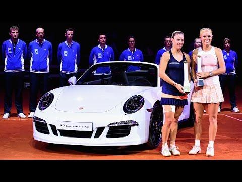 2015 Porsche Tennis Grand Prix WTA Highlights | Angelique Kerber vs Caroline Wozniacki