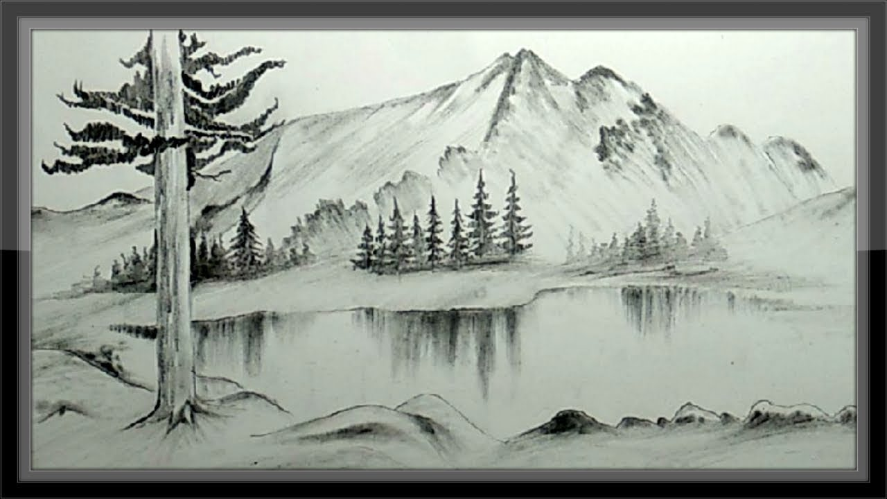 Easy pencil drawing mountain landscape scenery step by step