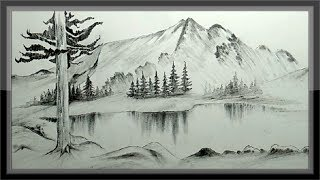landscape mountain drawing pencil drawings easy scenery step sketch nature paintingvalley