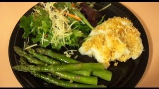 Quick And Easy Meal: Baked Coconut Cod With Garlic Asparagus + Mixed Greens