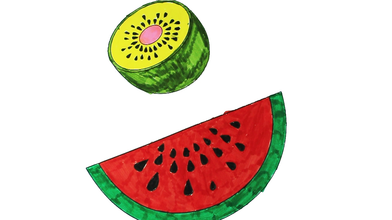Coloring watermelon and kiwi fruit coloring pages for kids learning colors kids how to color