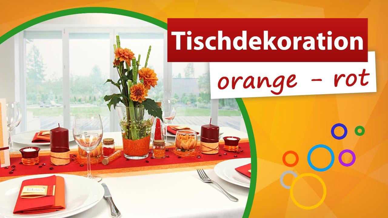 Tischdekoration Orange Rot Tischdeko Trendmarkt24 Youtube