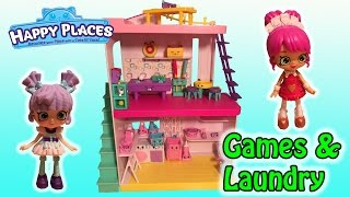 Shopkins Happy Places Laundry & Gaming Room Studio + Queenie Hearts & Milly Mops Welcome Packs