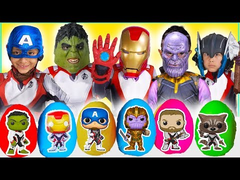 NEW AVENGERS End Game Play Doh Surprise Eggs Toys Iron Man Hulk Captain America Thanos kids costumes