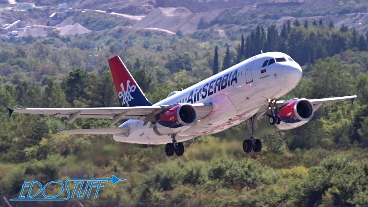 Avionske Karte Air Serbia.Tower View Tivat Airport Lytv Tiv Air Serbia Airbus A319 Takeoff
