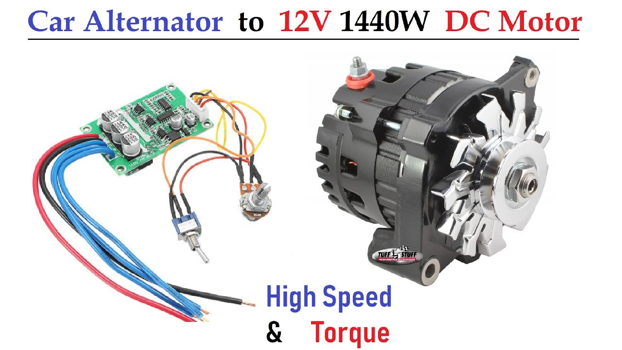 12v 120 Amps Car Alternator converted to DC Motor ( 1500 Watt High Torque )  - with BLDC Controller