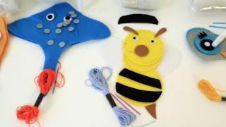 Игрушки из фетра Досуг с Буки Сова, Скат, Кот, Жираф, Пчела, Маска совы BONDIBON