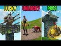 PORT A FORTRESS TURRETS! LUCKY vs UNLUCKY vs PROS - Fortnite Funny Moments