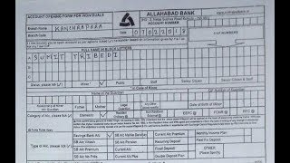 Account Opening Form Fill up Of Allahabad Bank || Simplified In Hind
