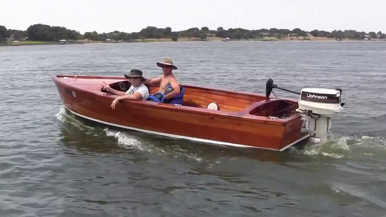 Homemade wooden boat - Lake Ray Hubbard Dallas, TX - YouTube
