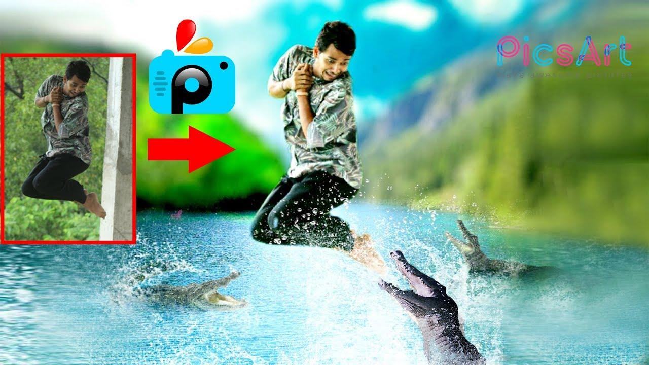 CROCODILE ATTACK Creative Photo Manipulation in PicsArt Editing Tutorial ❤